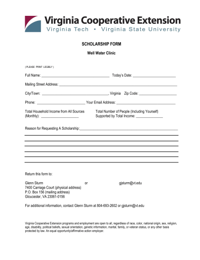Well Water Clinic Scholarship Form